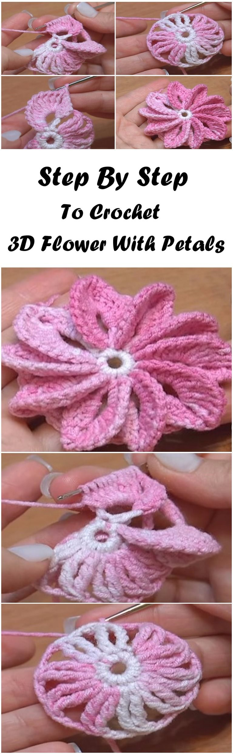 How To Crochet 3d Flower With 10 Asymmetrical Petals Tutorial Rose Flores Crochetflowers Pretty Diagram