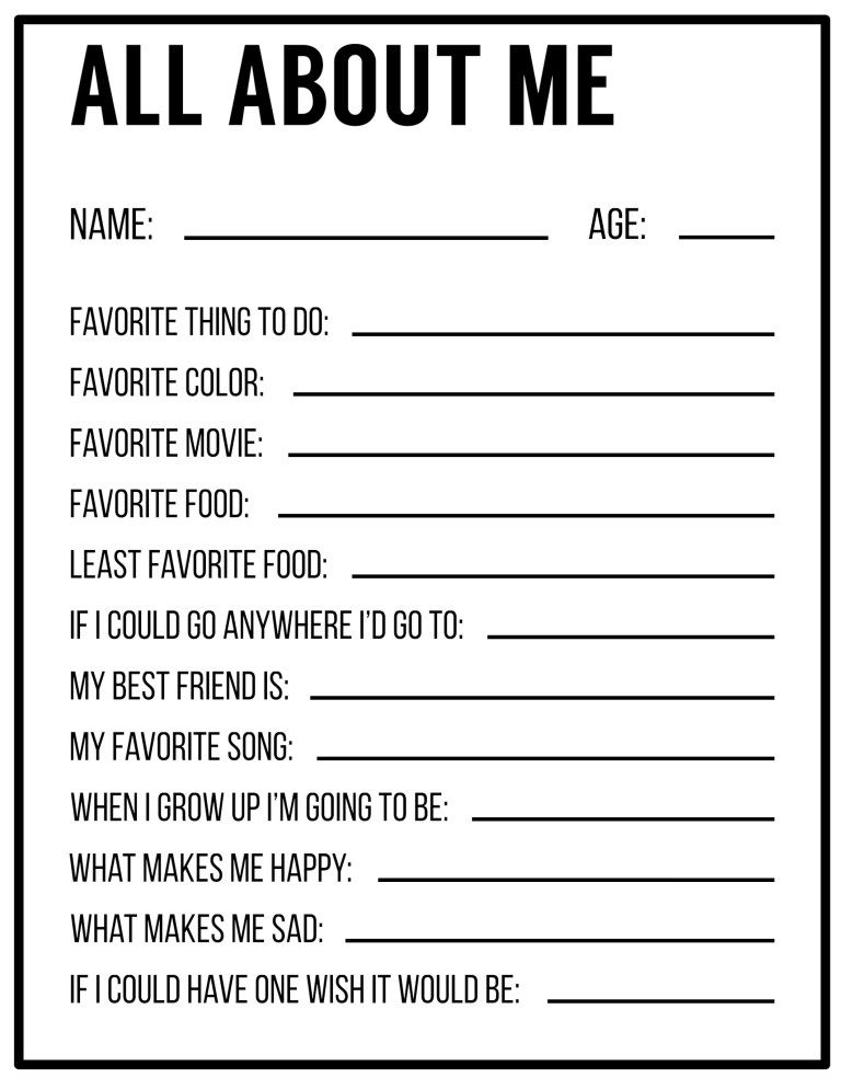 All About Me Printables {Interview Template Games School
