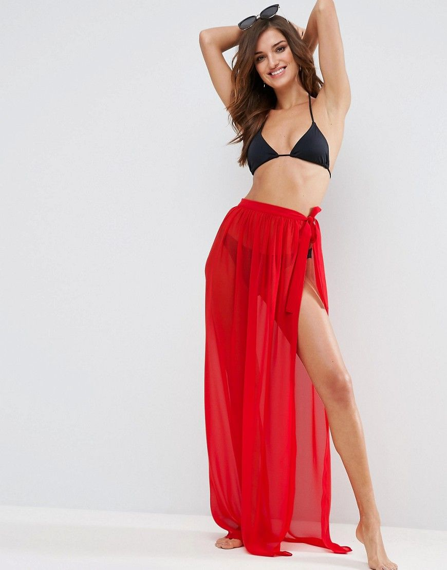 4feb32b92c ASOS Maxi Chiffon Beach Sarong with Satin Tie - Red Beach Cover Up Skirt,  Beach