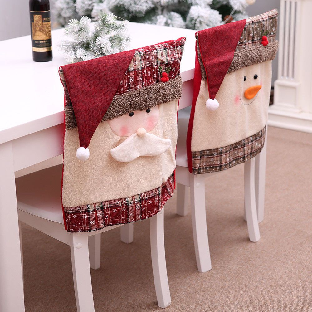 Christmas Chair Cover Santa Claus Snowman Decorations For Home Chair Back Cover Christmas Chair Covers Christmas Chair Chair Back Covers
