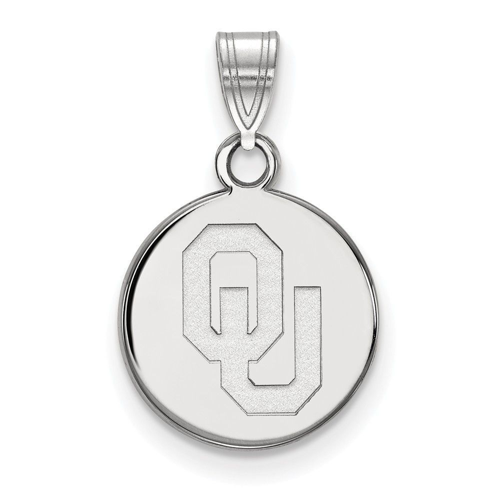 Sterling Silver LogoArt University of Oklahoma Small Disc Pendant