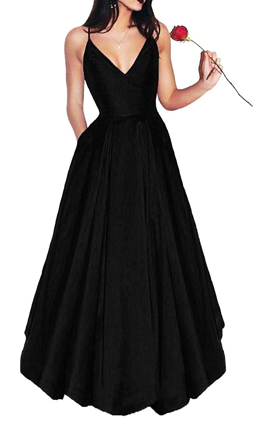030c55e81fa1 Bonnie Womens Vneck Homecoming Dress 2017 Long Spaghetti Straps Satin Prom  Party Dresses with Pockets BS037   Find out more about the great product at  the ...