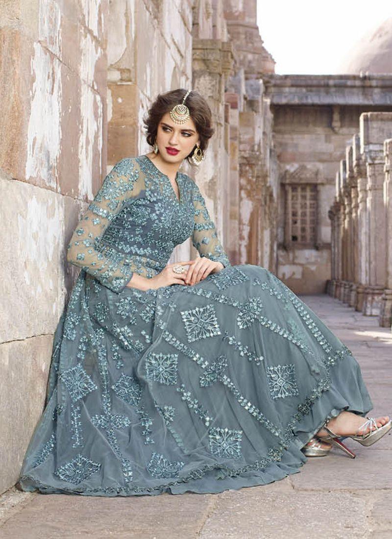 Grey Net Embroidered Work Wedding Wear Anarkali Suit | Wholesale ...