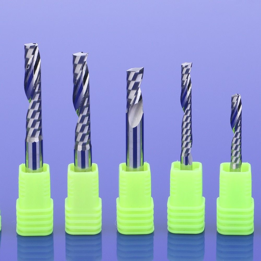 3.175mm Single Flute Spiral Cutter CNC Router Bits Carving Tool For MDF//Acrylic
