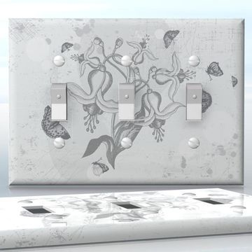 DIY Do It Yourself Home Decor - Easy to apply wall plate wraps | Grey Butterflies  Grey and white flowers and butterflies  wallplate skin sticker for 3 Gang Toggle LightSwitch | On SALE now only $5.95