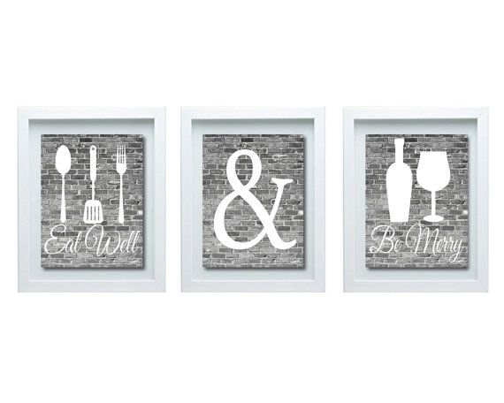Gray And White Kitchen Wall Art Eat Well And Be Merry Print Kitchen Decor Kitchen Wall Art Modern Kitchen Decor Modern Kitchen Art Kitchen Decor Modern Kitchen Decor Frames Kitchen Wall