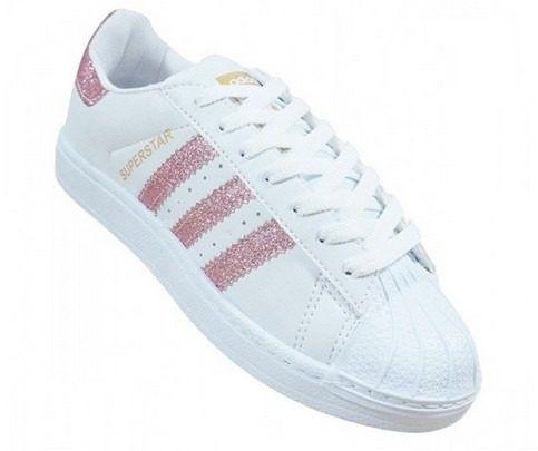 Tenis Adidas Superstar Branco E Rosa Com Gliter Frete Gratis Com