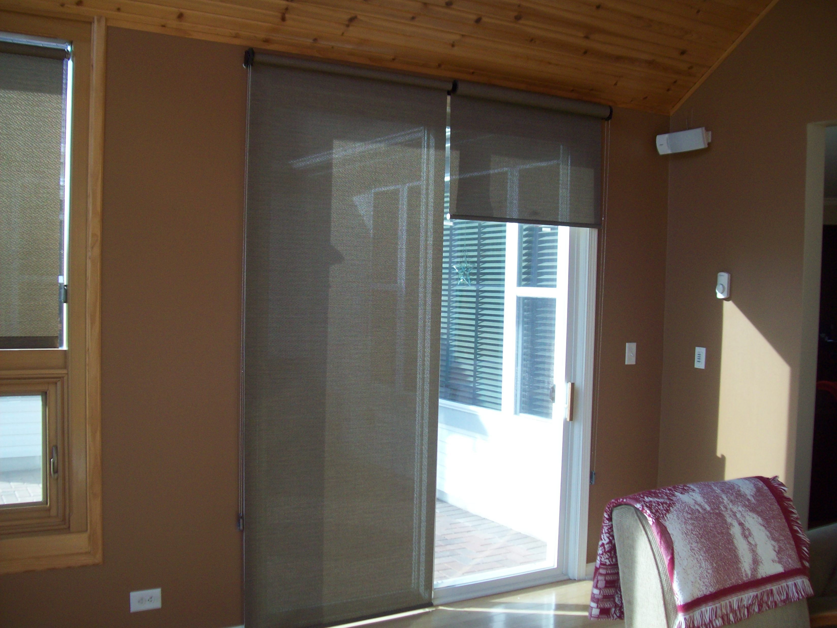 Roller Shades On Patio Door One 1 2 Up To Give Idea Of Light Control Patio Door Curtains Sliding Door Window Coverings Patio Doors