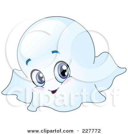 RoyaltyFree RF Clipart Illustration of a Cute Blue Eyed Ghost