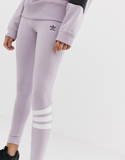 c8f1dd44e859c adidas Originals Linear Leggings in lilac and white in 2019 | Komand ...