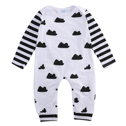 Black Clouds Romper cool black and white  kids and baby unisex clothing