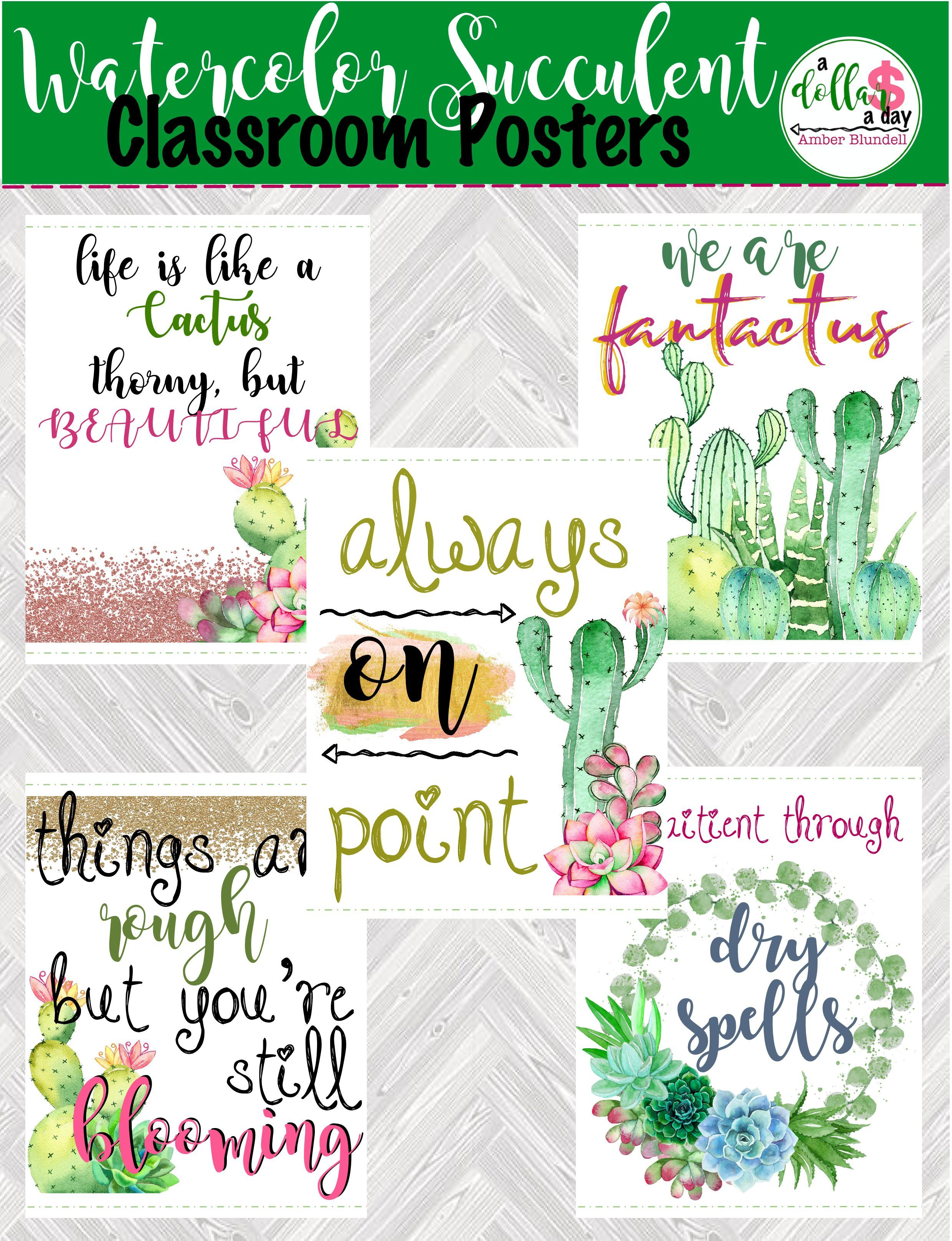 5 Cute Watercolor Cactus And Succulents Motivational Classroom