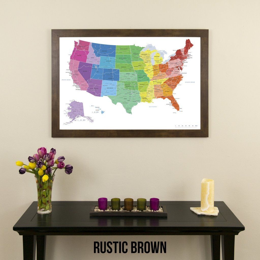 Colorful US Push Pin Travel Map with
