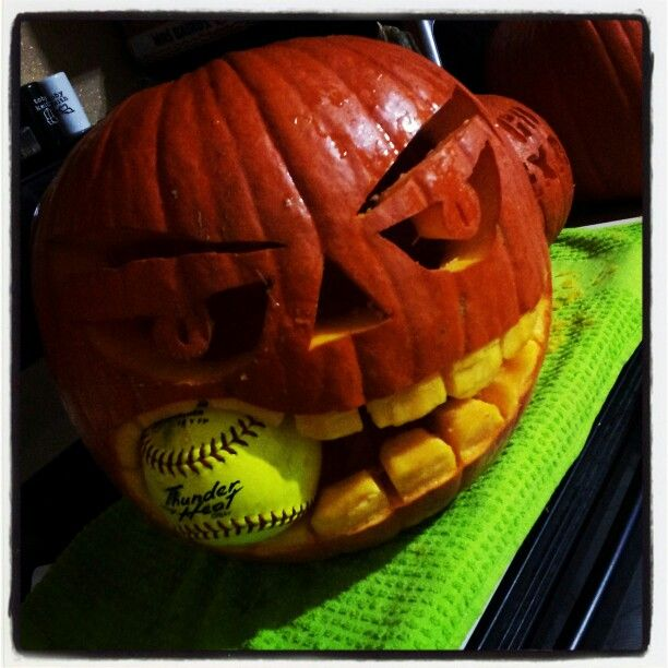 Softball pumpkin softball⚾️⚾️ pinterest
