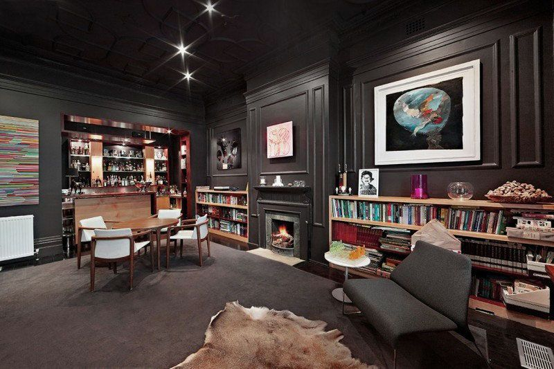 glamorous home office design with fireplace and fascinating mini bar