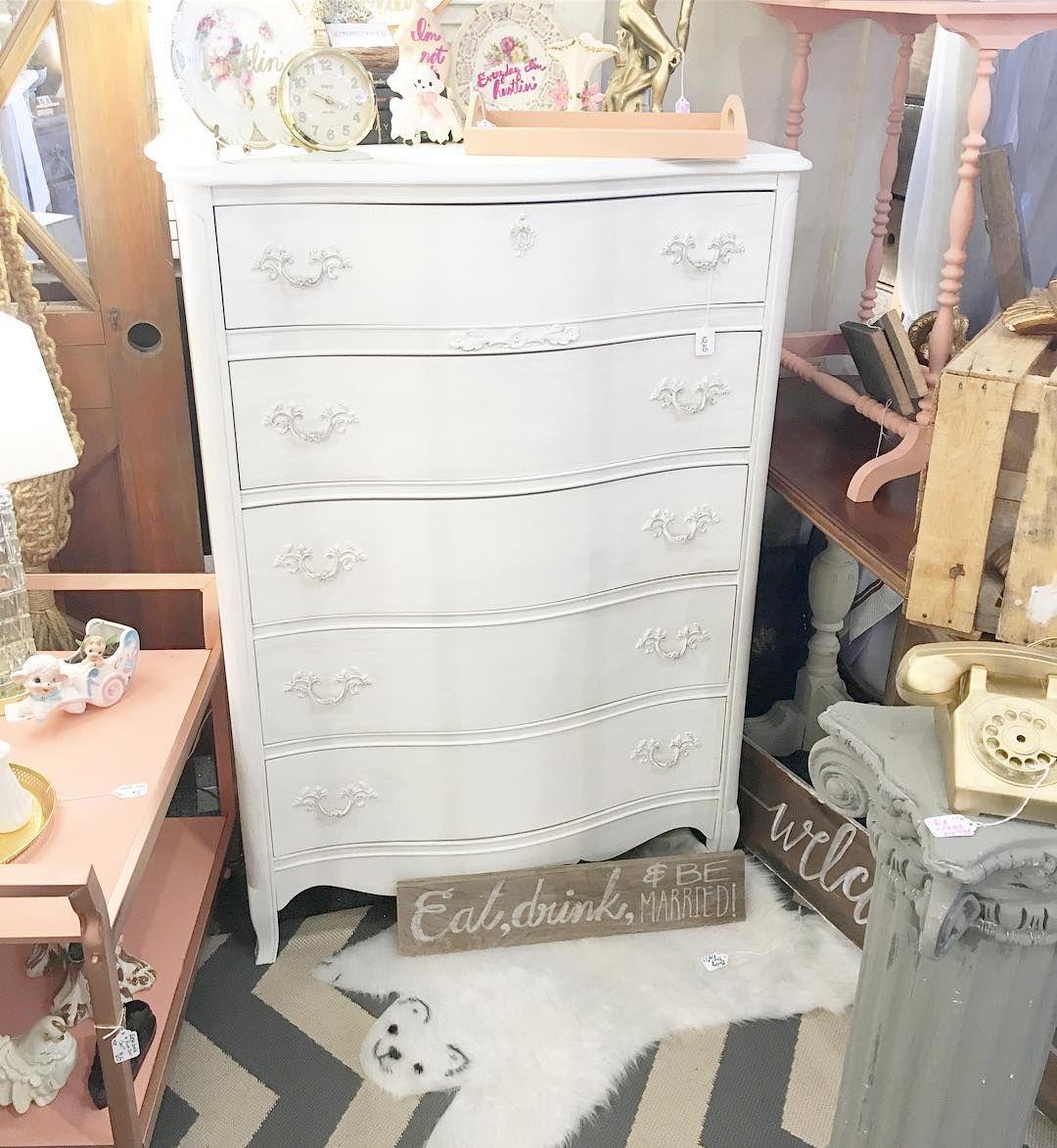Sweet dresser display in my booth @curiositiesvintage