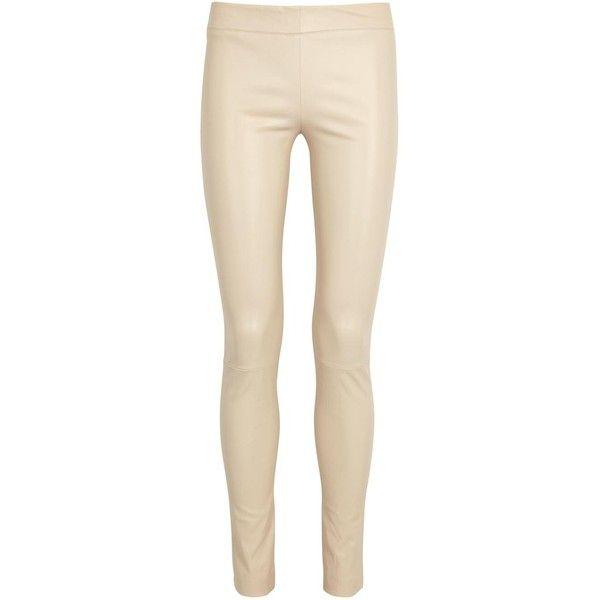 513e2f580e02a4 Womens Leather Trousers THE ROW Moto Cream Leather Leggings ($2,250) ❤  liked on Polyvore featuring pants, leggings, leather trousers, stretch  waist pants, ...