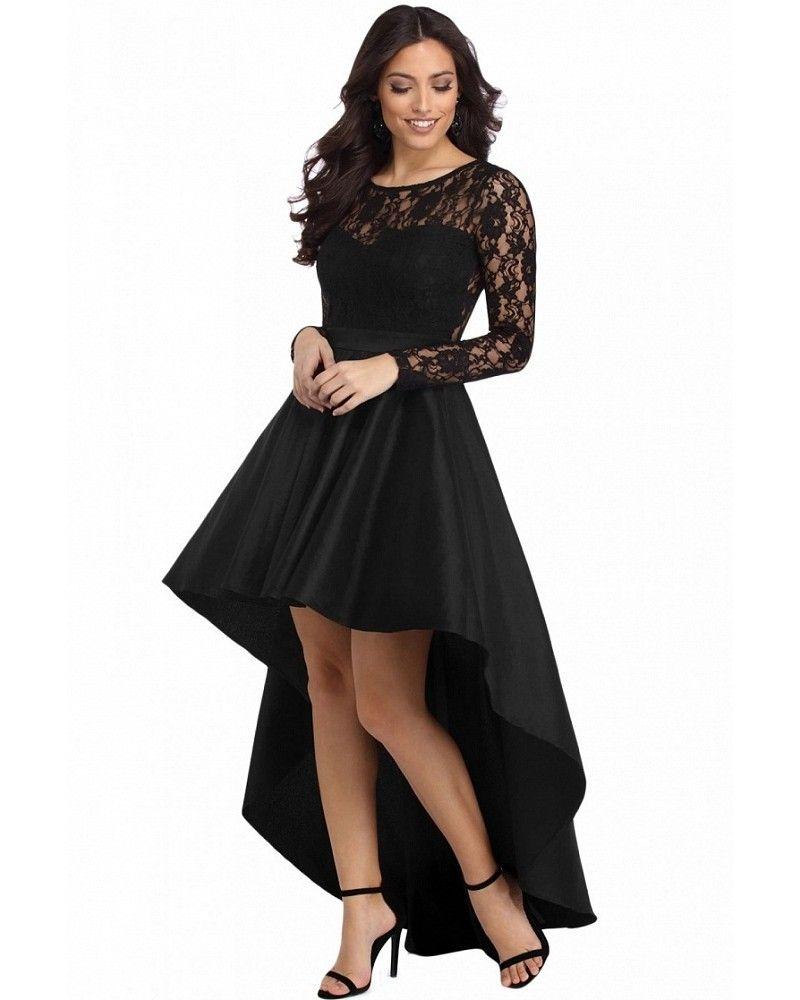 44ab72ed62c Rochie neagra asimetrica cu trena Ioana High Low Lace Dress