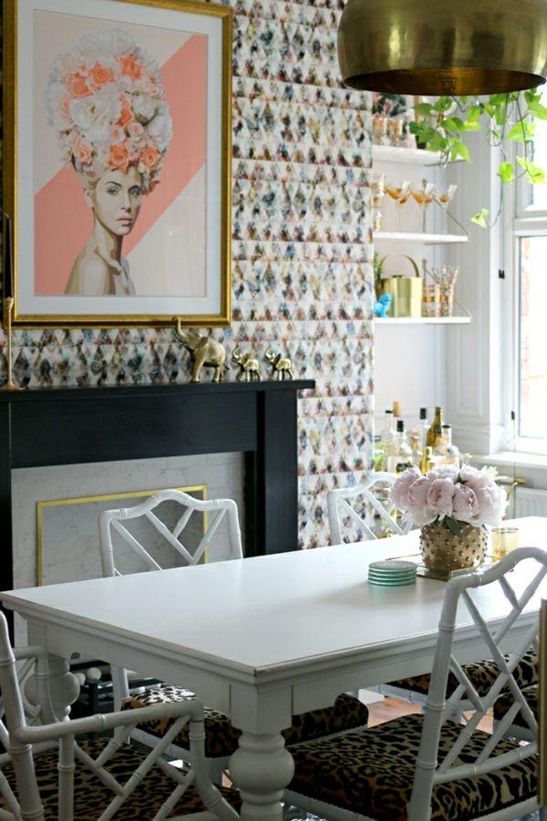 moderne tapeten frisches tapetenmuster Wandgestaltung - Tapeten - Wandgestaltung Wohnzimmer Grau Lila