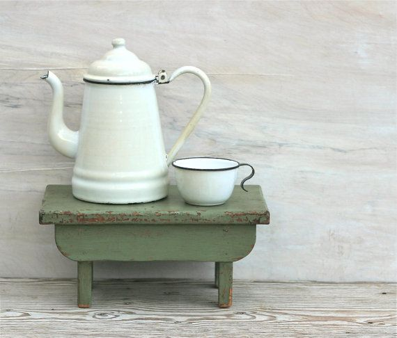 Best Early Enamel White Coffee P*T And Cup Rustic Farmhouse 400 x 300