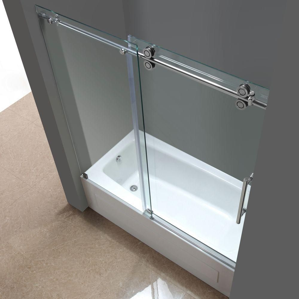 Aston Langham 60 In X 60 In Completely Frameless Sliding Tub Door In Chrome With Clear Glass Tdr978 Ch 60 10 The Home Depot Shower Doors Tub Doors Tub Shower Doors