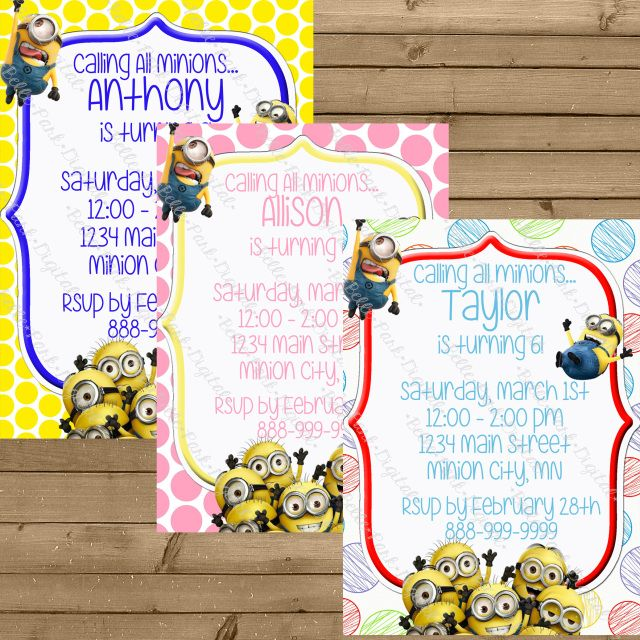 minion inspired birthday invitation with free thank you 5x7 or 4x6