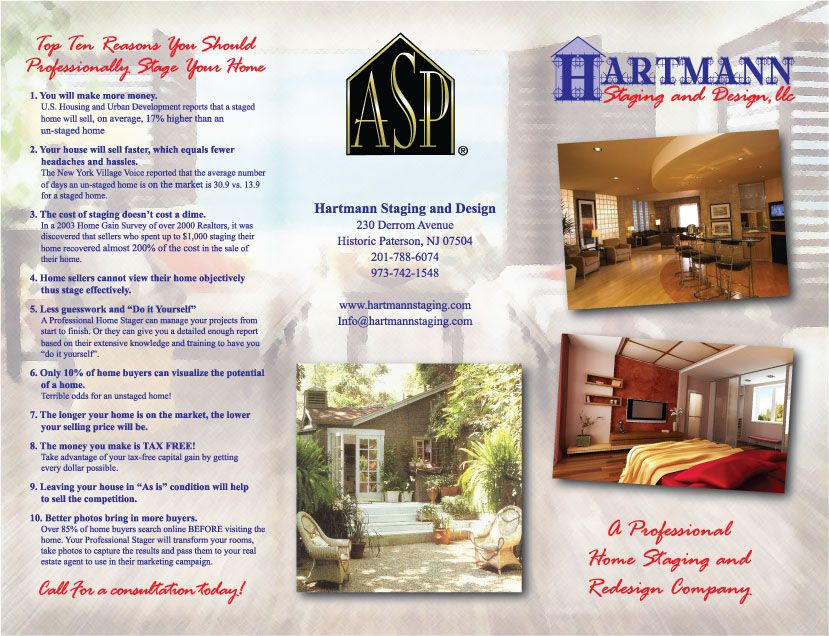 Brochure Home Staging Side 1 My Designs In 2019 Home Staging