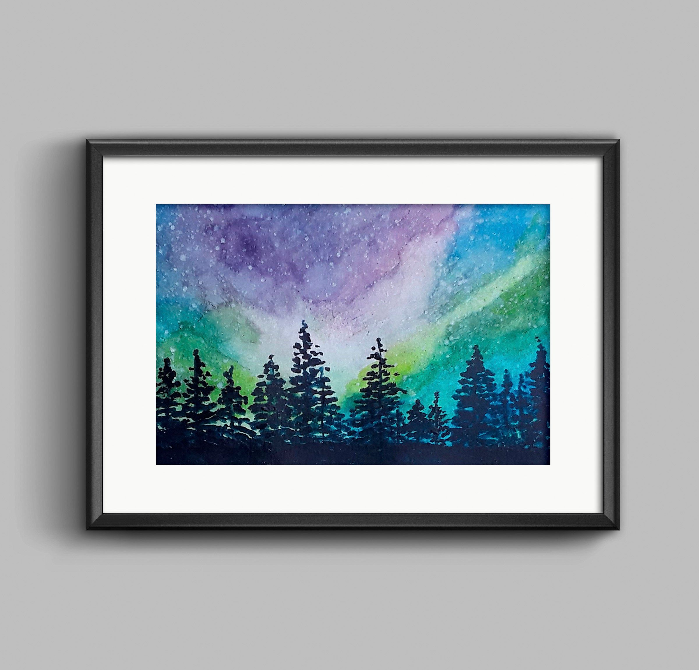 Northern Lights Watercolor Painting Night Sky Watercolor
