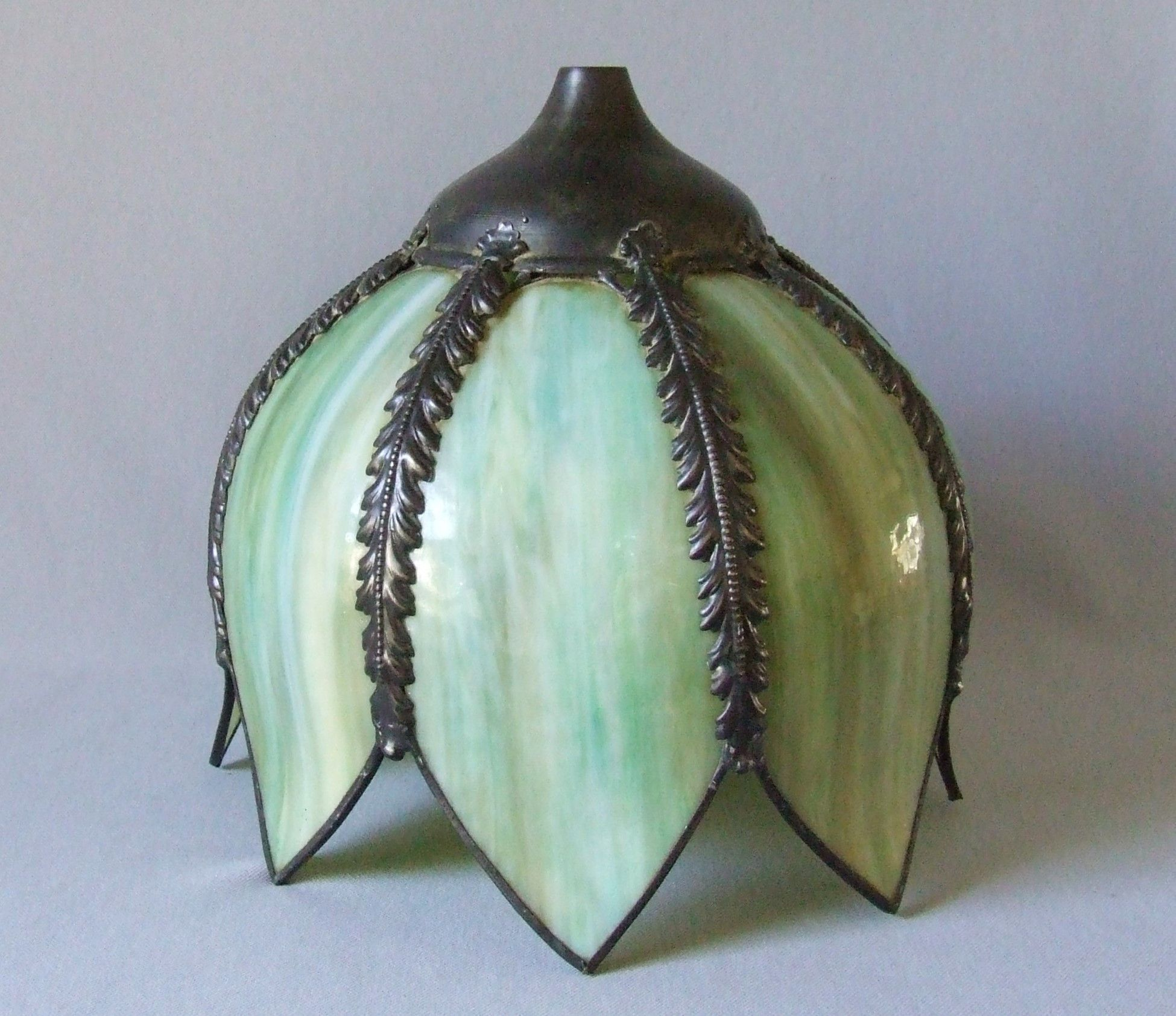 Vintage Green Slag Stained Glass Tulip Shade For Light