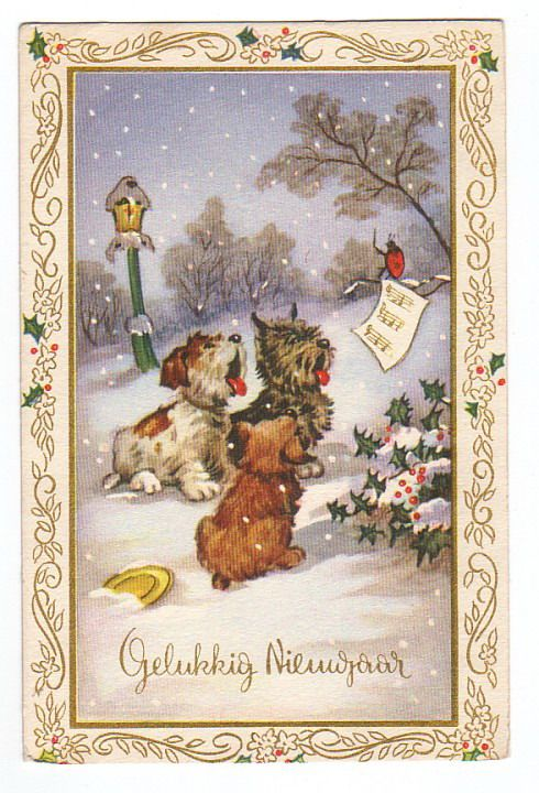 free vintage dutch new year card with three dogs singing in the snow