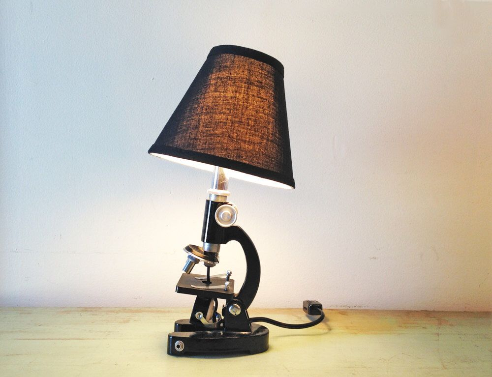Repurposed microscope lamp vintage antique microscope scientific lamp night light by northern electric lighting company