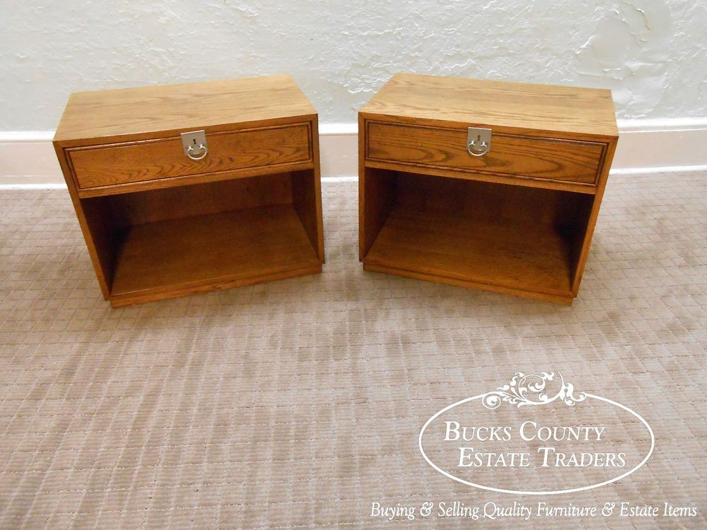 Founders Thomasville Mid Century Modern Vintage Pair Of Oak Nightstand End  Table #MidCenturyModern