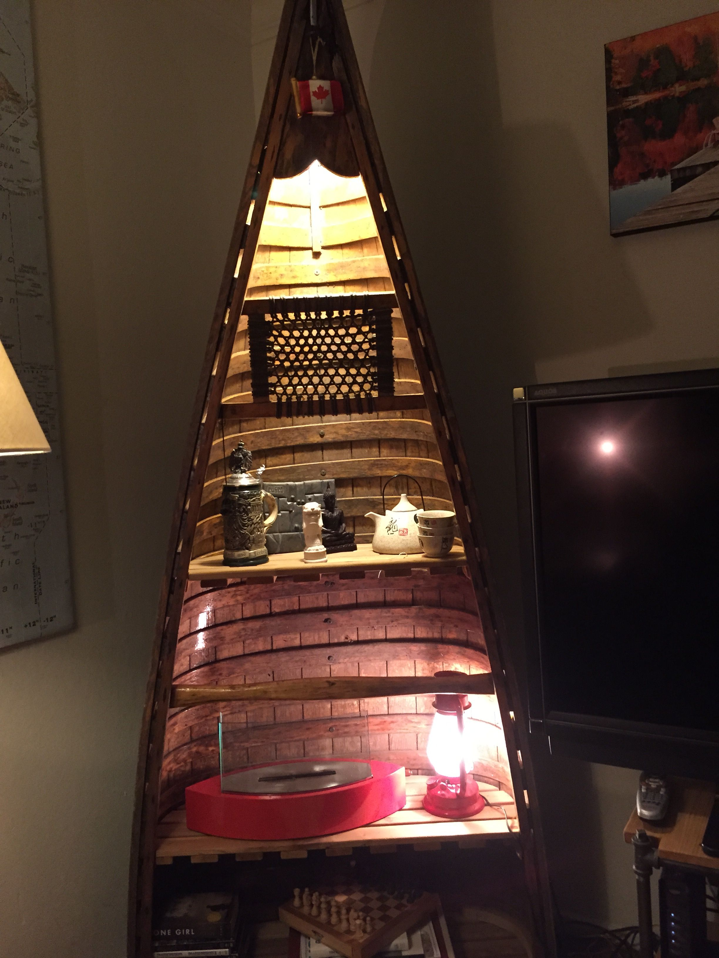 Cedar Strip Canoe bookshelf with lighting | Look Ma what I did ...