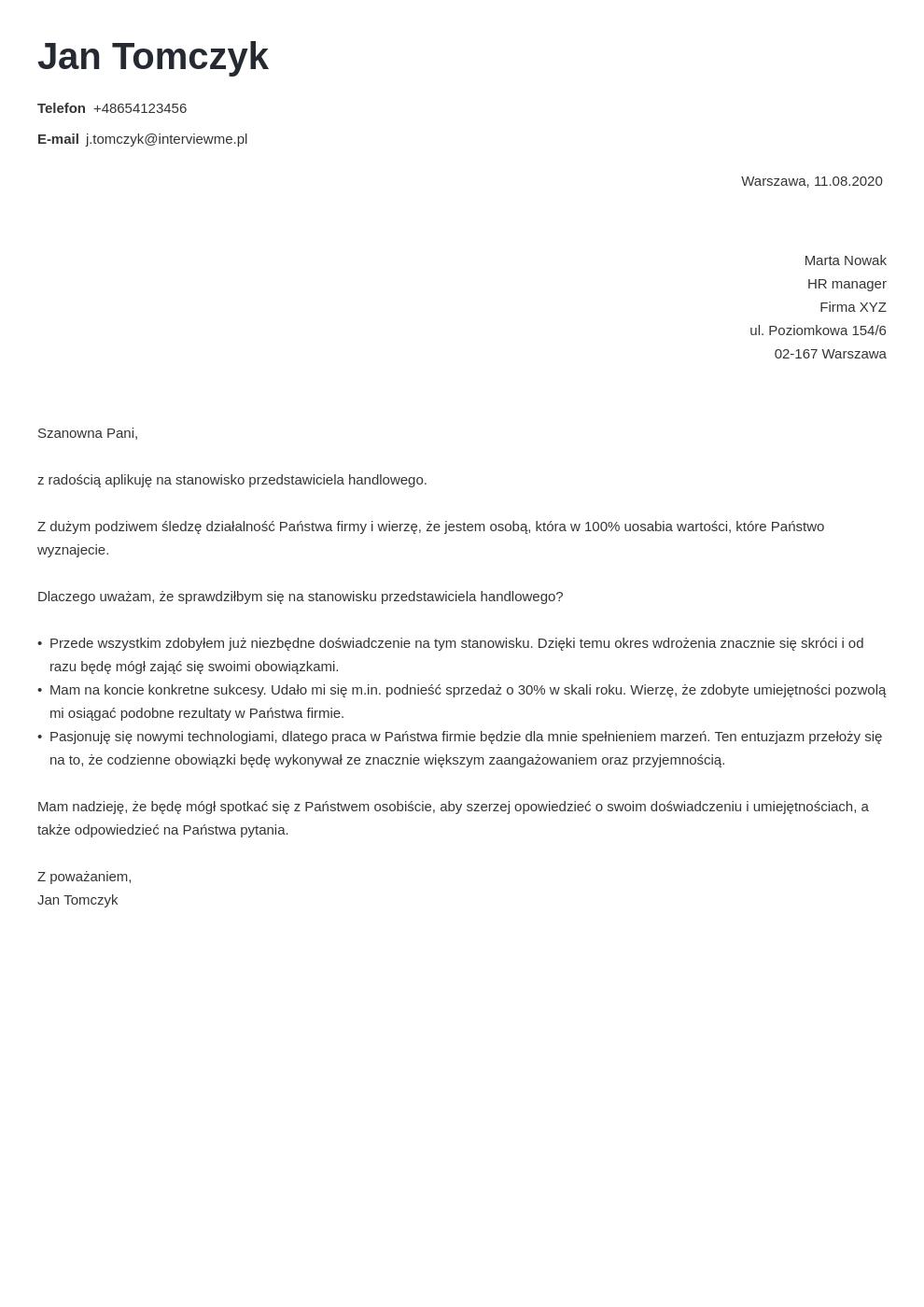 Cv List Motywacyjny Wzor Template Nanica