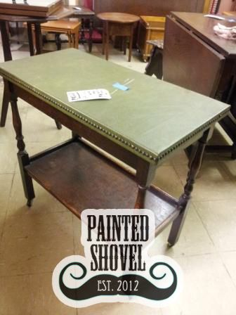Antique leather-topped wood side table sold by auction at Painted Shovel in Avondale, AL.