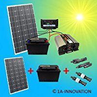 Ideal Komplette V Solaranlage T V mit x Ah Akkus W Solarmodul W Spannungswandler Gartenhaus NEU Solar Garten