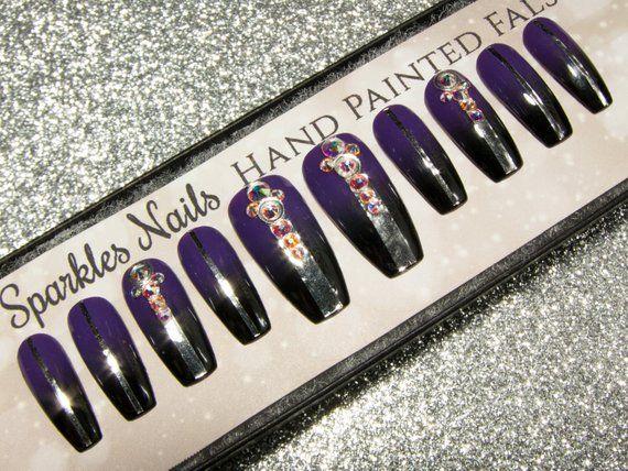 Long Coffin Nails - Purple Fake Nails - Press On Nails