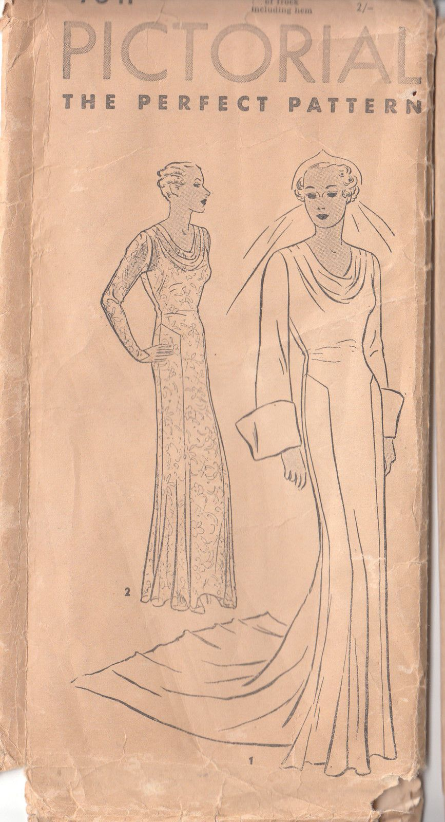 1930s Pictorial The Perfect Pattern 7641 Cowl Neck Wedding Bridal