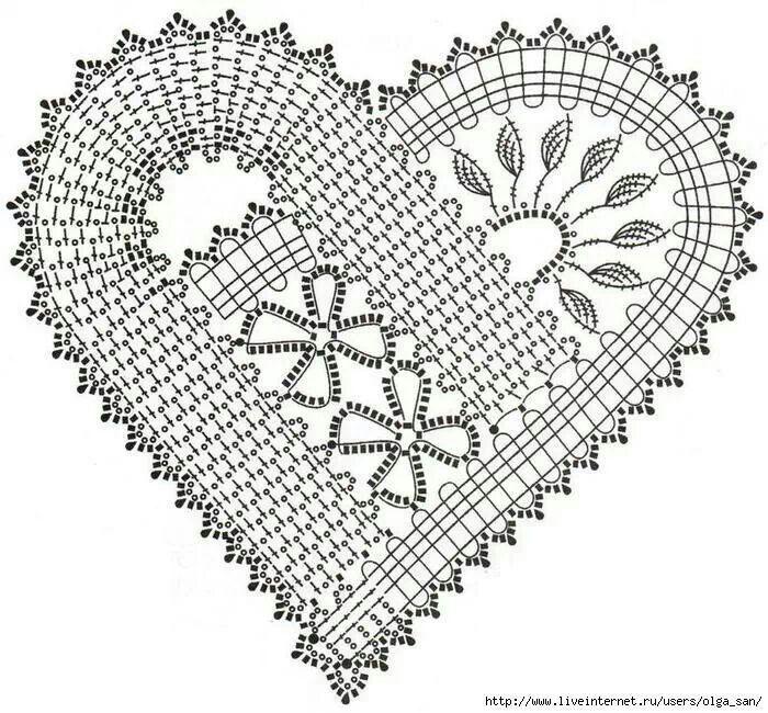 Crochet heart pattern. Patrón corazon de ganchillo. | Filet All ...