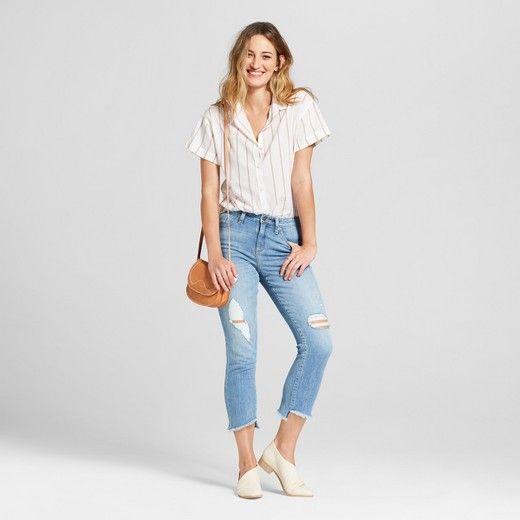 756150c3 Women's Striped Short Sleeve Button Down Shirt - Universal Thread™ Cream :  Target
