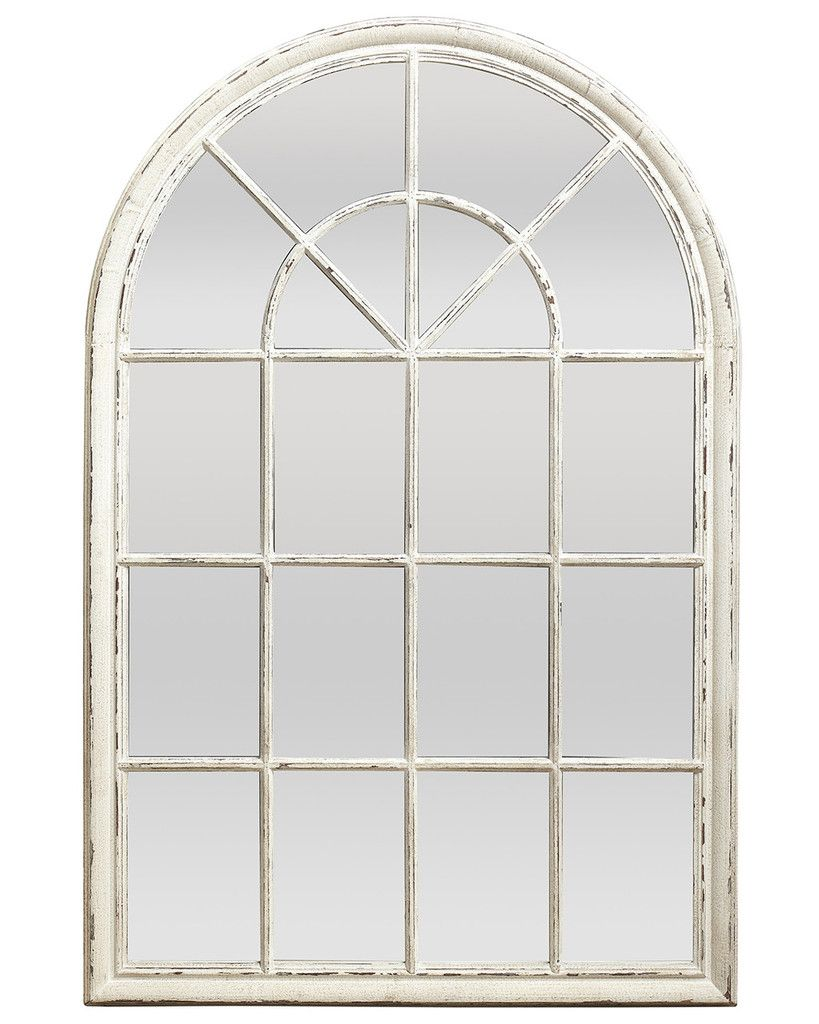 Bedroom with lamp white wall mirror ramos solid wood dining table - Ramos Large Arched Window Pane Mirror