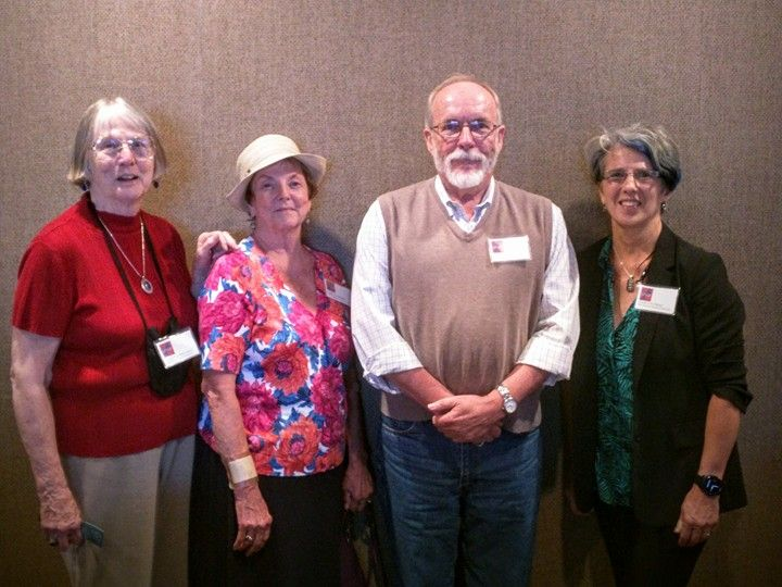 2015 IPNE Annual Conference - Conference coordinators Tordis Ilg Isselhardt and Pamela J. Fenner (from left) with keynote speaker Robert Gray of Shelf Awareness and IPNE president Charlotte Pierce.