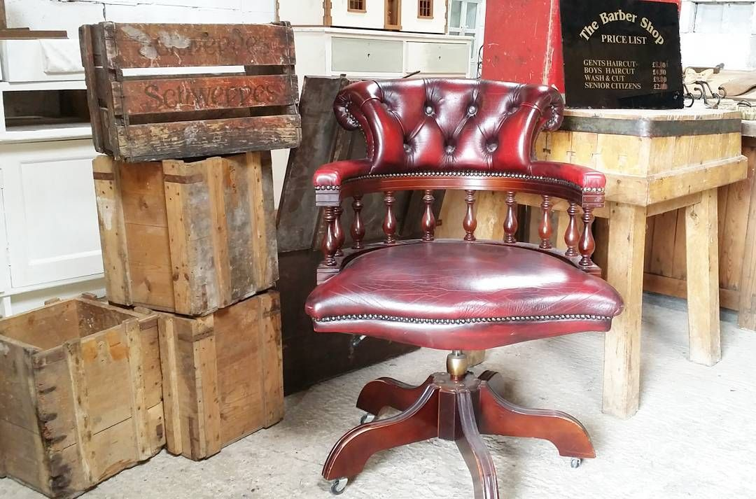 Antique Chesterfield Office Desk Chair Antiques Leather Instagood Instadaily Morning