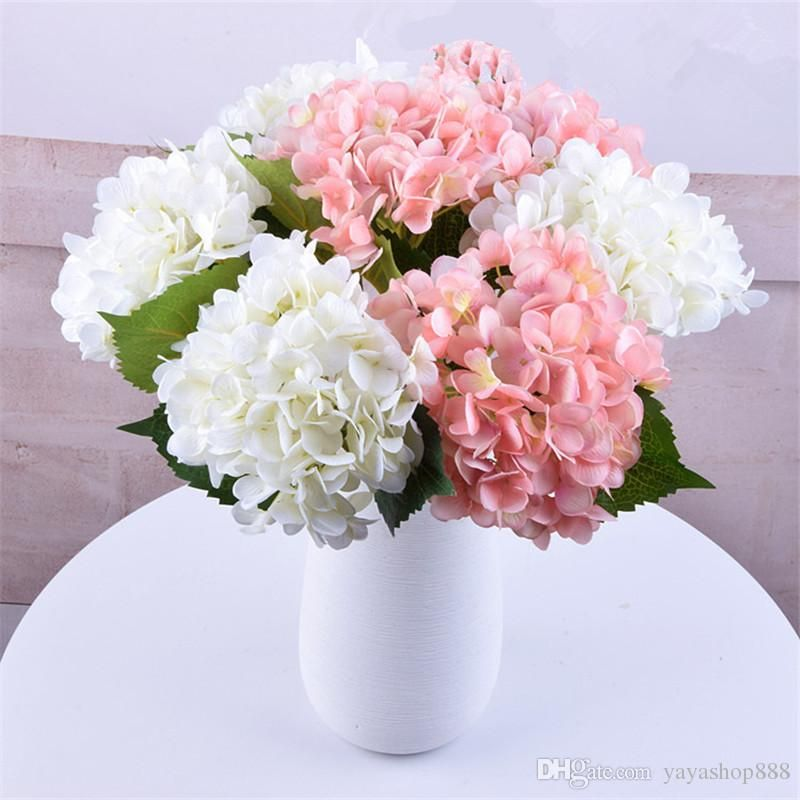 47cm Artificial Hydrangea Flowers Home Decorative Fake Silk Pu Real Touch Hydrangeas For Wedding Festival Home Party Decorative Flowers 2020 From Yayashop888 Silk Flower Centerpieces Wedding Flower Decorations Cheap Artificial Flowers