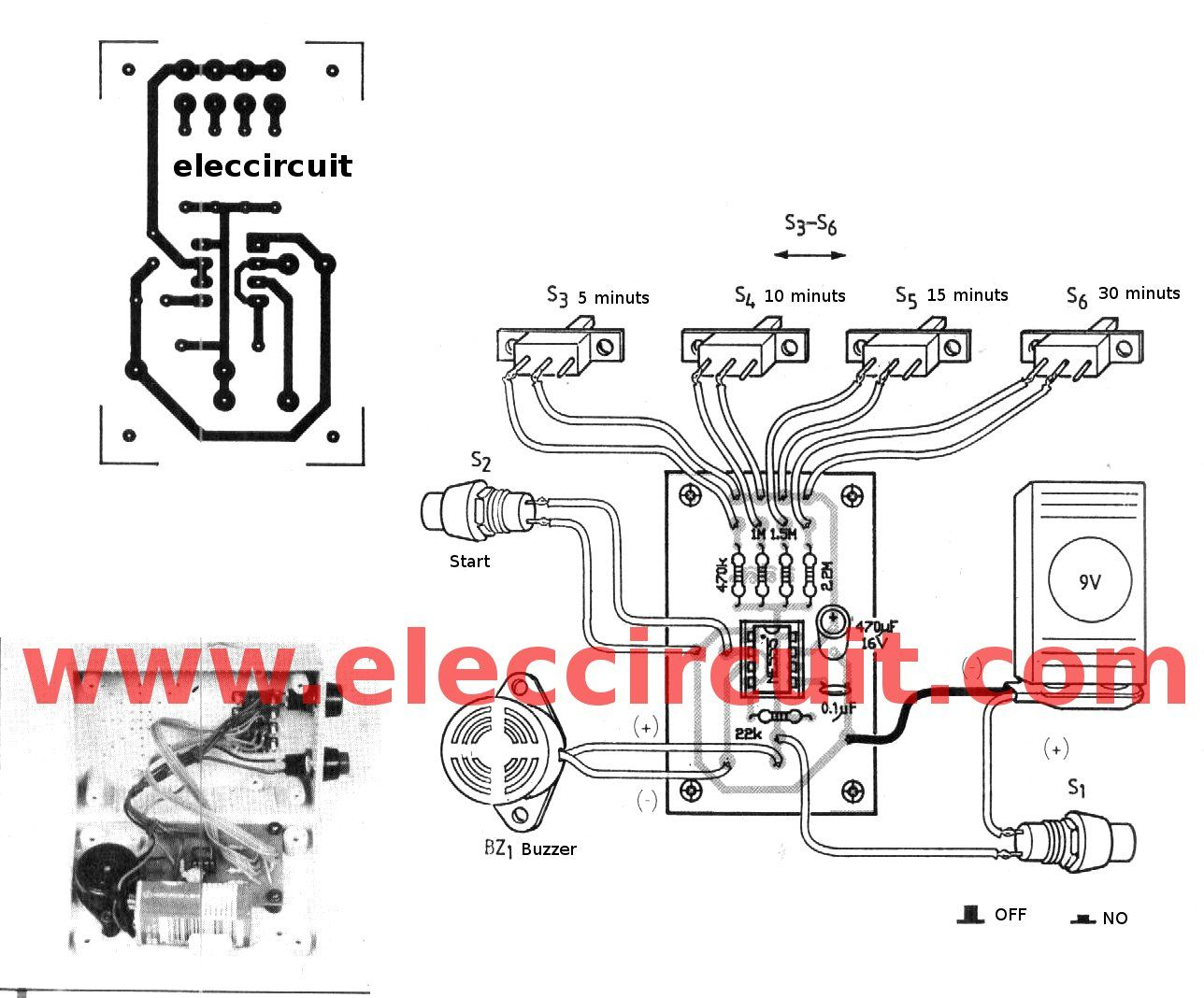 the PCB layout of 5-30 minuts timer alarm circuit using IC555 ...