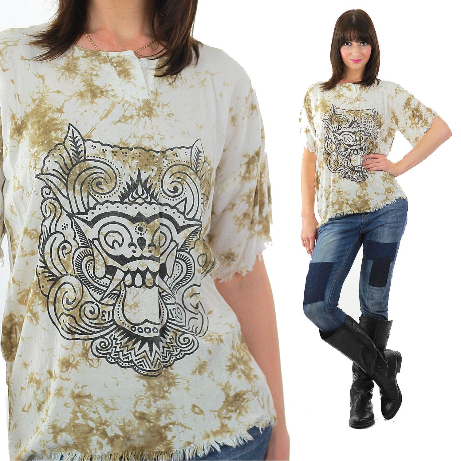 Vintage gothic Boho Gargoyle Top Shirt Goth Monster top Shirt Hippie Tie dye top shirt tunic Fringe Tunic Festival top Grunge top tunic M