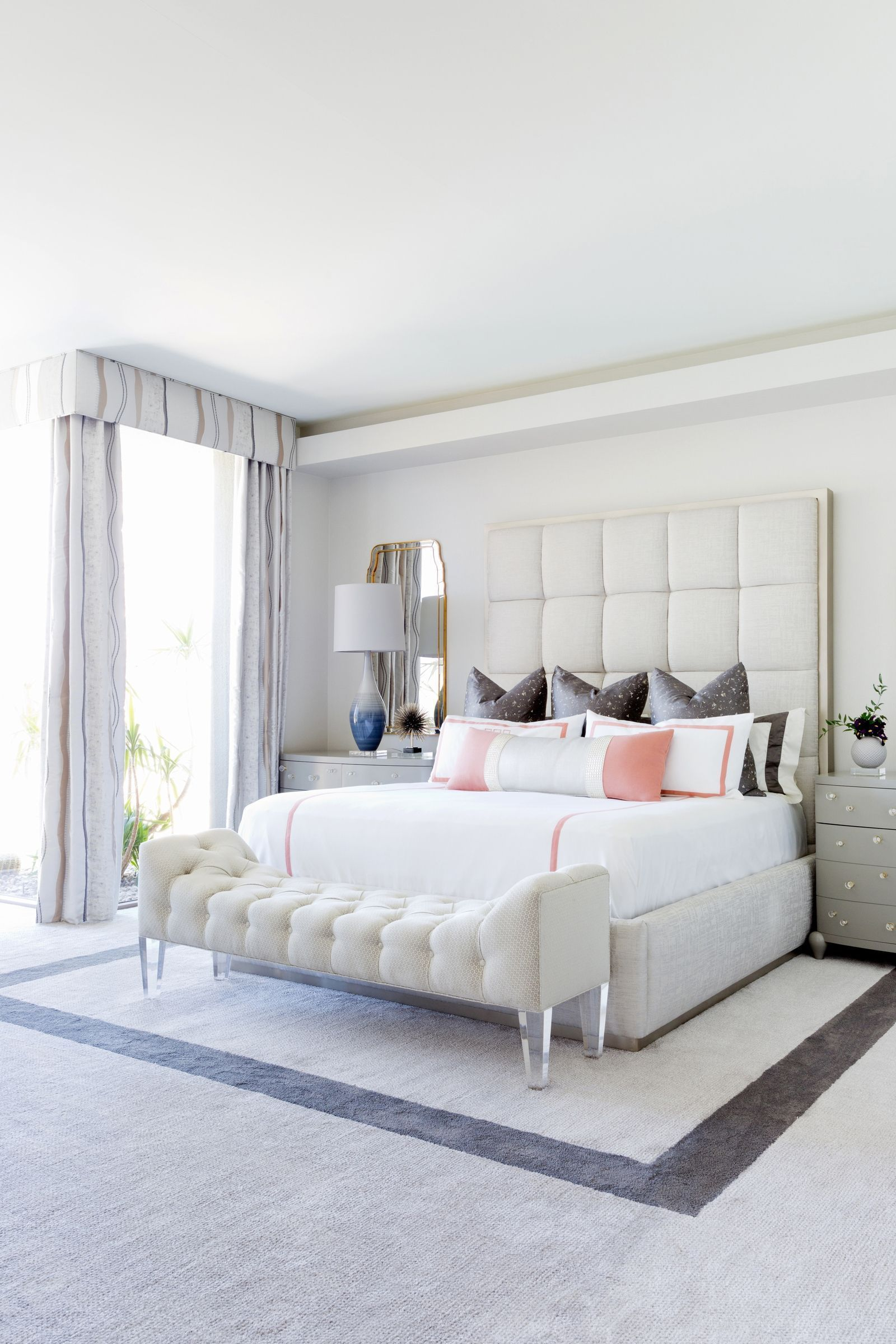 From White Wood Flooring Through To White Tile Flooring In This Home Flooring Pros Guide Upholstered Panel Bed Upholstered Platform Bed Gray Tufted Headboard