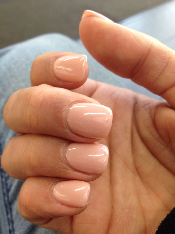 Shellac Acrylic Nails: Acrylic Nails With Beige Shellac