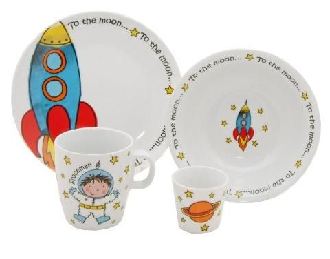 Spaceman Childrens Dinnerset By Arthur Wood Kids Dinnerware Kids Dinner Sets Ceramic Dinnerware