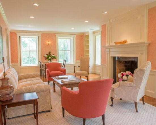 Amazing Traditional Home Remodelling Design: Fabulous Family Room Floral  Motive Sofa The Tavern Interior · Peach Living RoomsIvory ...